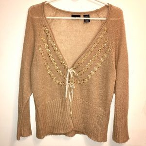 Mix It Sand & Gold Sequin Ribbon Tie Cardigan